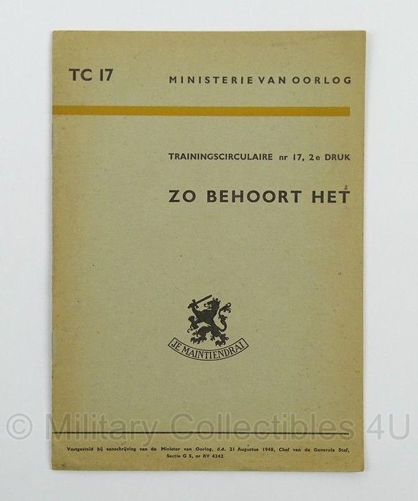 MVO Voorschrift Zo behoort het nr. TC 17 - 1948 - afmeting 15 x 22 cm - origineel