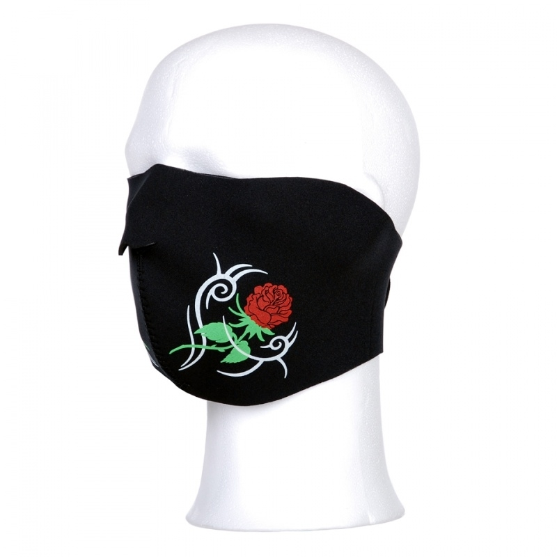 Biker mask half face - roses