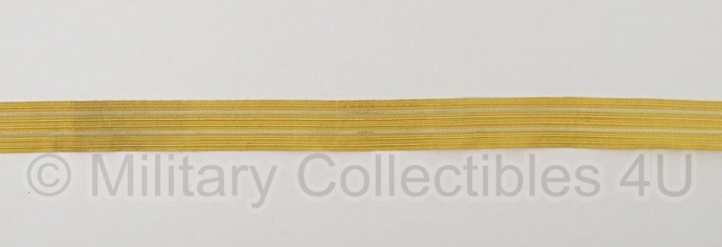 Marine mouwband  42mm breed - 2 meter lang - goud met 2 witte lijnen