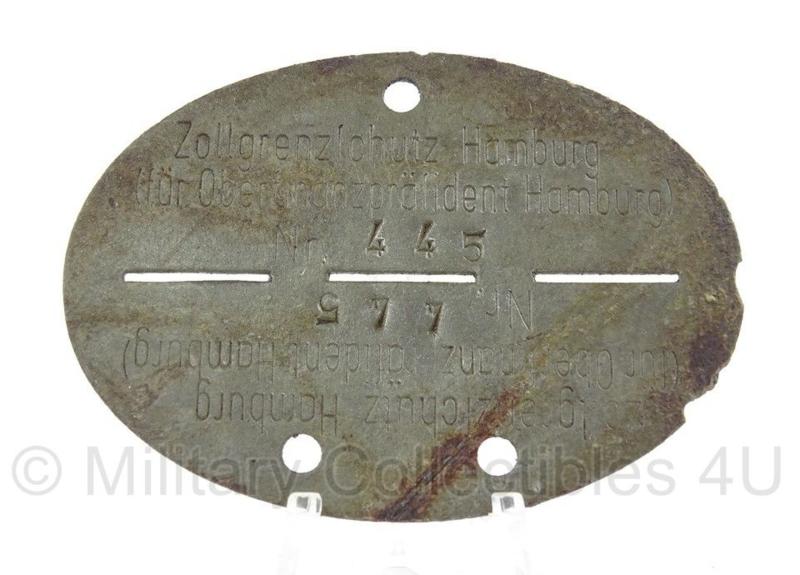 WO2 Duitse erkennungsmarke - Zollgrenzschutz Hamburg - persoonsnummer 445 - origineel