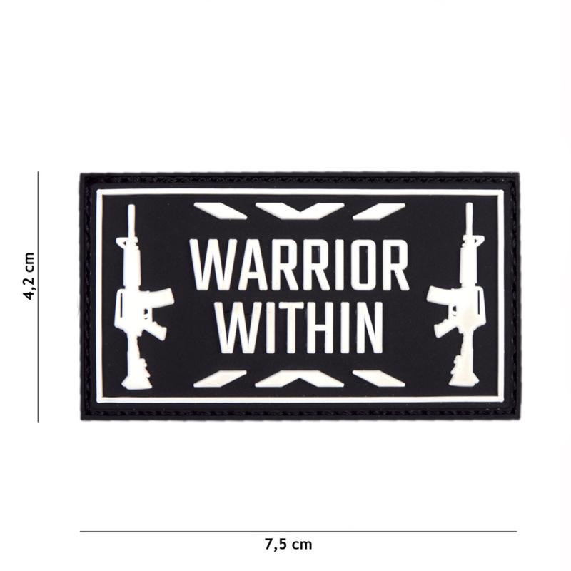 Embleem 3D PVC WARRIOR WITHIN - zwart/wit - 7,4 x 4,1 cm