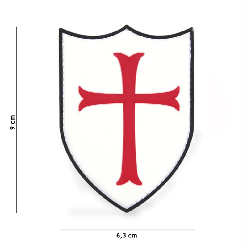 Embleem Crusader Wit / rood - Klittenband - 3D PVC - 6,3 x 9 cm.