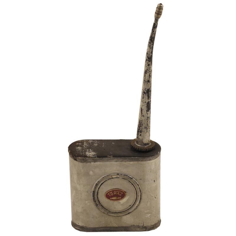 Antiek militair olieblik met tuit ongebruikt MIDDEL   8,5 x 8,5 x 3,2 cm - origineel