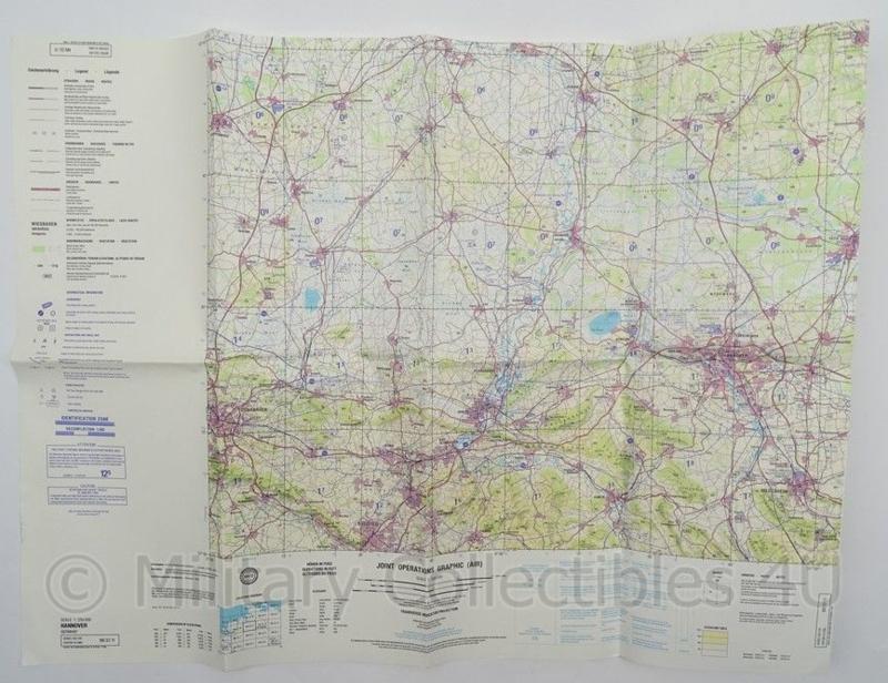 Leger Topografische kaart Hannover Joint Operations Graphic (air) 1:250 000 - 74 x 56 cm - origineel