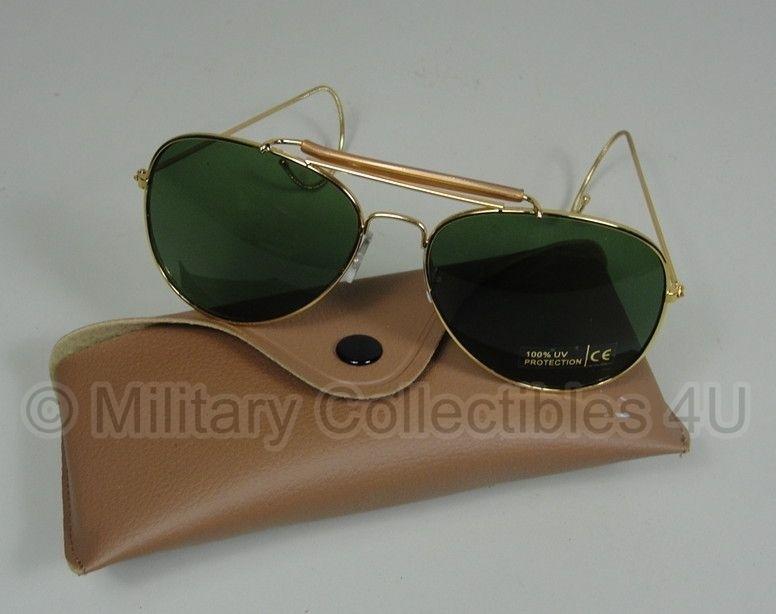 US Air Force zonnebril met hoes - Groen glas