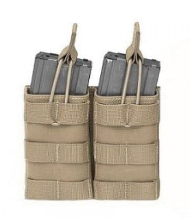 Warrior assault systems  MAG pouch Double MOLLE open M4 5.56mm MAG / Bungee retention - 2 MAG Pouch Coyote Tan  - Nieuw