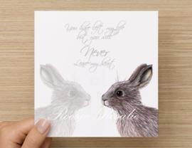 Condoleance Kaart Rabbitgrief kaart de luxe *** OP BESTELLING