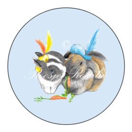 Sticker Konijnen Pieten Lau & Momo ( 4 stuks)