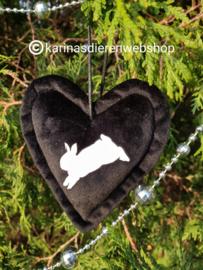 Kerst Ornament Hart Springend Konijn zwart