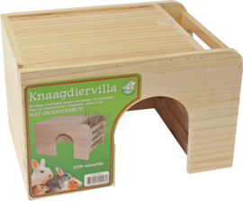 Knaagdiervilla hout met groenvoer - hooiruif, large.