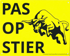 Pas op STIER (springende stier)