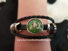 Leren Armband Zwart Cavia in Gras