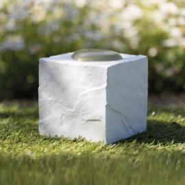 Gedenksteen Grafsteen Kubus met hart wit