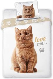 Katten Dekbedovertrek Love Me - Eenpersoons - 140 x 200 cm - Wit