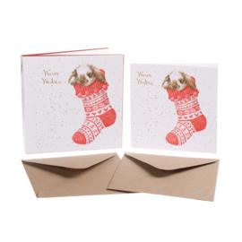 """Set van 8 kerstkaarten Konijn """"Christmas Stocking"""" Wrendale Designs"""