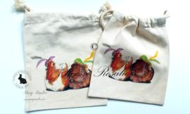 Katoenen zakje met illustratie van cavia pieten Olivia & Muffin