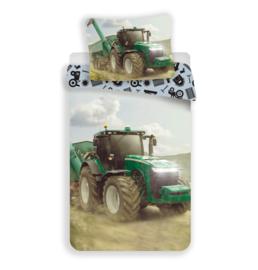 Dekbedovertrek Groene Tractor 2  - Eenpersoons - 140x200 cm