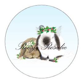 Sticker Kerst engeltjes Konijn ( 4 stuks)