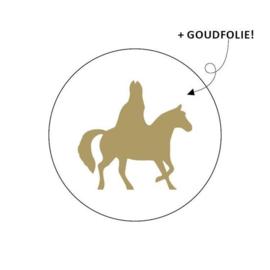 Wensetiket rond 40mm - Sint+paard 10 stuks
