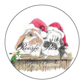 Sticker Kerst Ollie & Flapje met Merry Christmas ( 4 stuks)
