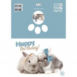 Happy Birthday konijnen kaart