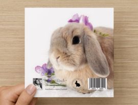 """Kaart Konijn Isabella met paarse bloemetjes Verjaardag  """"Lieve Jij , Gefeliciteerd"""""""