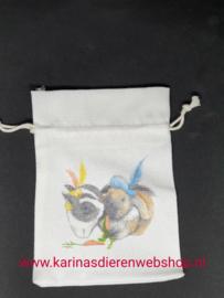 Katoenen zakje met illustratie van konijnen pieten