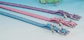 Halsband kunstleer Glitter Roze