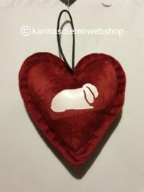 Kerst Ornament Hart hangoor konijn rood