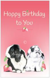 """Kaart Konijn Strawberry Bunnies Verjaardag """"Happy Birthday to you """""""