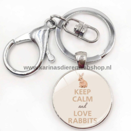 Sleutelhanger Keep Calm and Love Rabbits