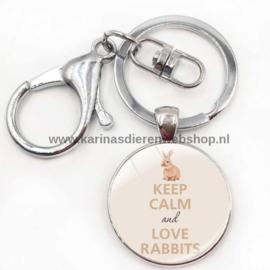 Sleutelhanger Keep Calm and Love Rabbits