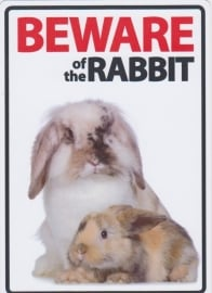 Beware of the Rabbit! Metalen Waakbord 20 x 30 cm