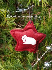 Kerst Ornament Ster Hangoor konijn rood