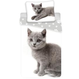Dekbedovertrek Grijze Kitten - Eenpersoons - 140 x 200 cm - Wit