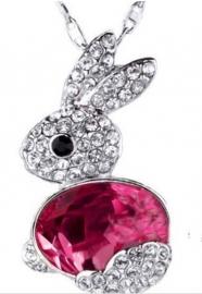 Ketting met hanger konijn roze