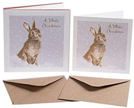 """Set van 8 kerstkaarten Konijn """"White Christmas"""" Wrendale Designs"""