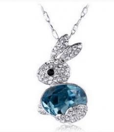 Ketting met hanger konijn blauw