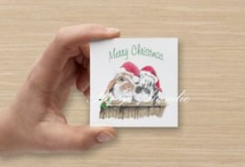 Cadeau Kaartje Konijn Kerst Ollie & Flapje