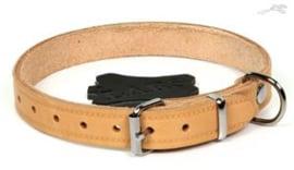 Lederen Halsband 45 cm naturel , nekomtrek 28 - 39 cm