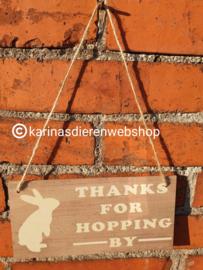 Waakbord Thanks for hopping by - konijn