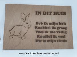Tekstbord hout konijn