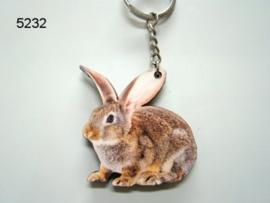 Houten konijnen sleutelhanger