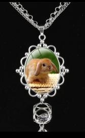 Lange ketting met hanger konijn hangoor