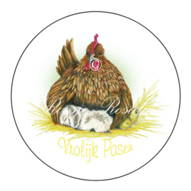 Sticker Pasen kip konijn kuikens stickers NL ( 4 stuks )