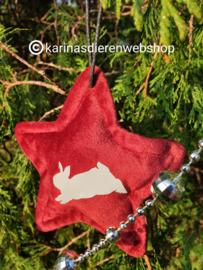 Kerst Ornament Ster Springend Konijn Rood