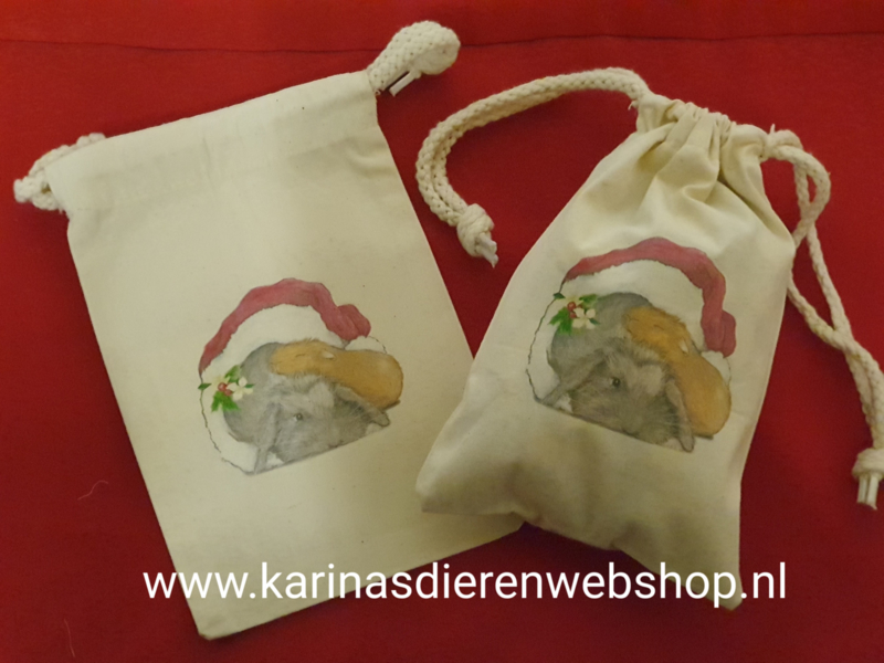 Katoenen kerstzakje met cavia & konijn van Roosje Rosalie