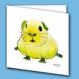 Kunstkaart cavia geel/groen