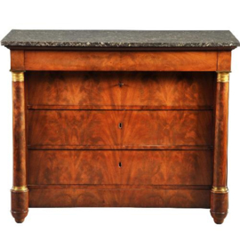 "Antieke kasten / Grote empire commode ca. 1815 in bloemmahonie gemerkt:  ""WALLAERT A BRUXELLES""  met vier laden en bovenblad in marmer. (No-200851)"