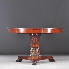 Antieke tafels / Ronde Coulissentafel tot 3.25 ca. 1820 met met zuil van acanthusblad (No.401031)*